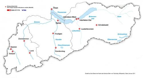 Karte Region Thun