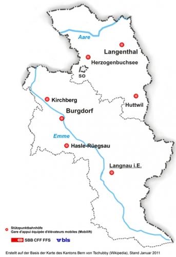 Karte Region Emmental
