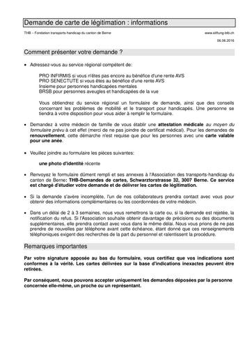 006 Demande de carte de légitimation: informations