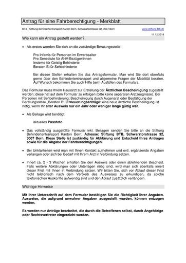 004 Antrag auf eine Fahrberechtigung - Merkblatt
